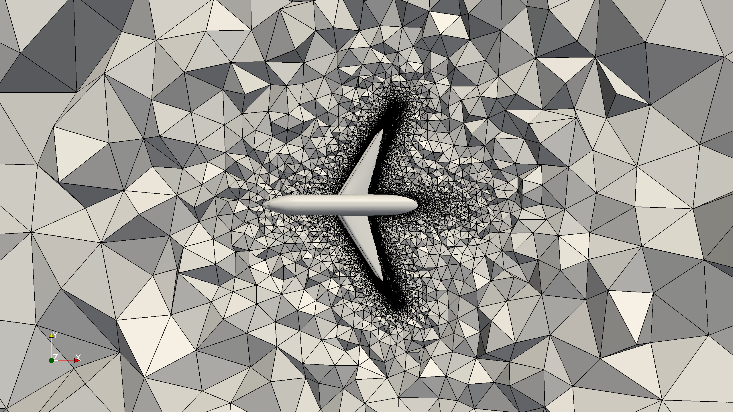 A visualization of a coarse mesh for the simulation of the flow past an airplane.