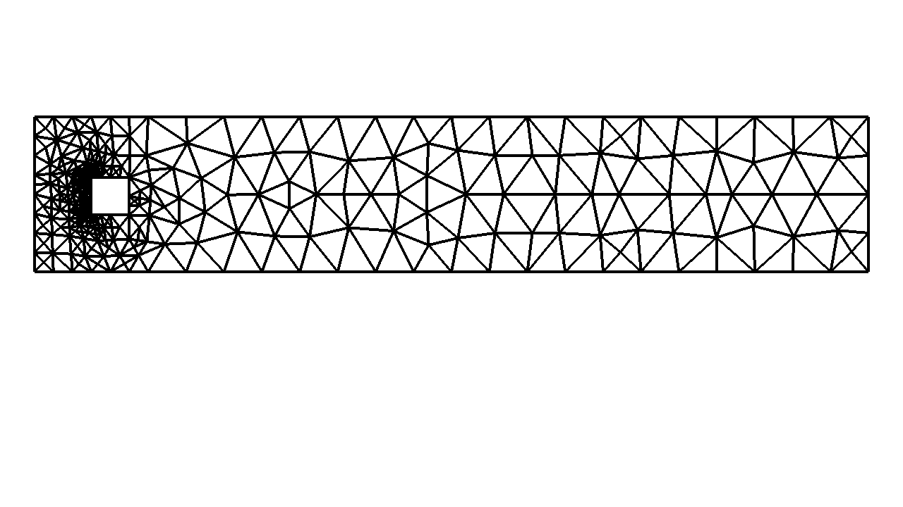 A visualization of the refined mesh used in the previous picture. The flow is now more detailed, and the mesh finer, in the parts of the mesh where the solution has sharper variations.